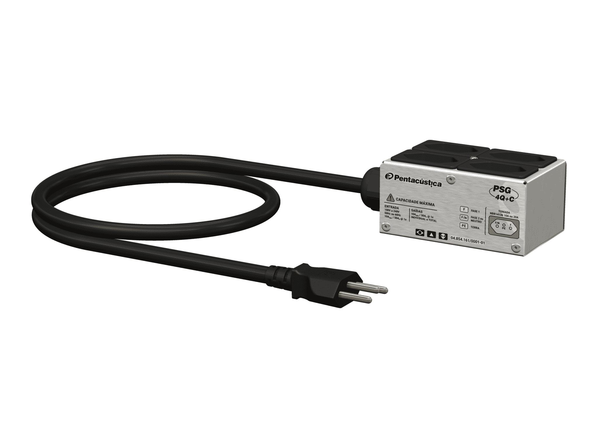 Régua de energia PSG-Q-4 com cabo de 5m